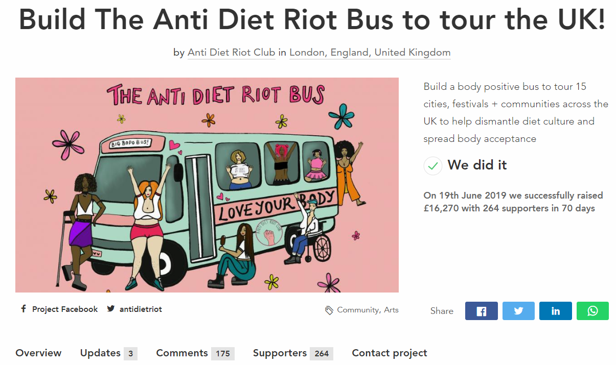Anti Diet Rot Club crowdfunding campaign