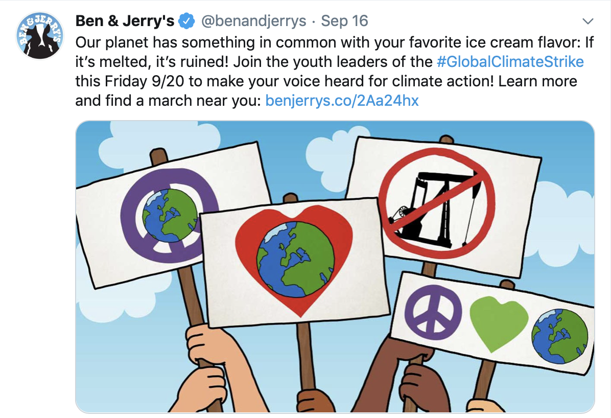 Ben and Jerry's tweet about Climate Strike