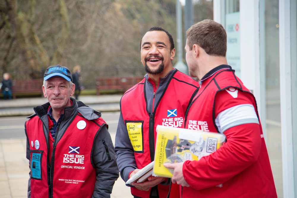 INSP Vendor Week_Edinburgh Rugby stars Nasi Manu and Allan Dell sell TBI in Edinburgh with vendor George