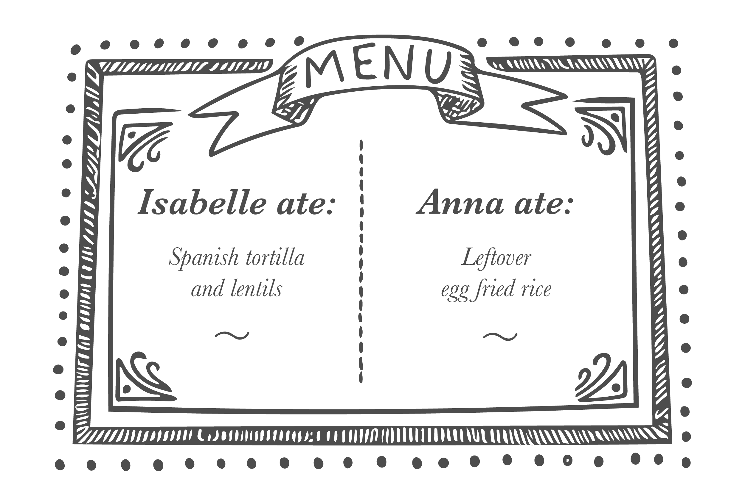 Lunch menu - Isabelle Irani