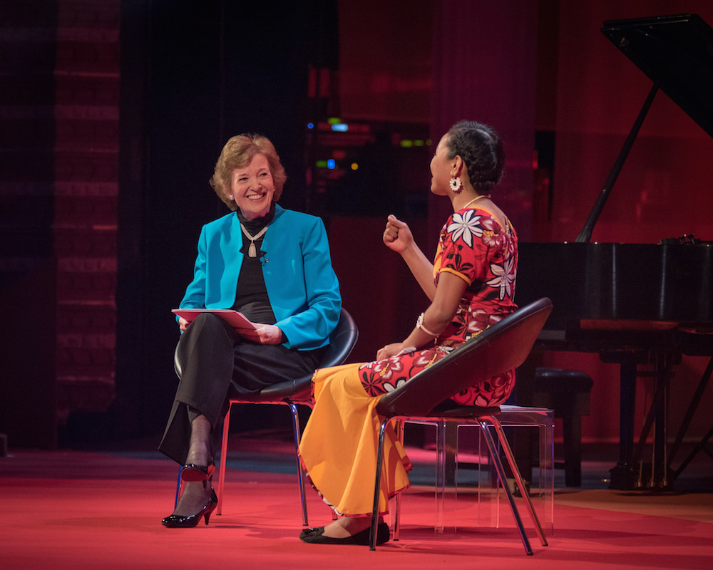 Mary Robinson and Selina Leem_Skoll World Forum_climate change