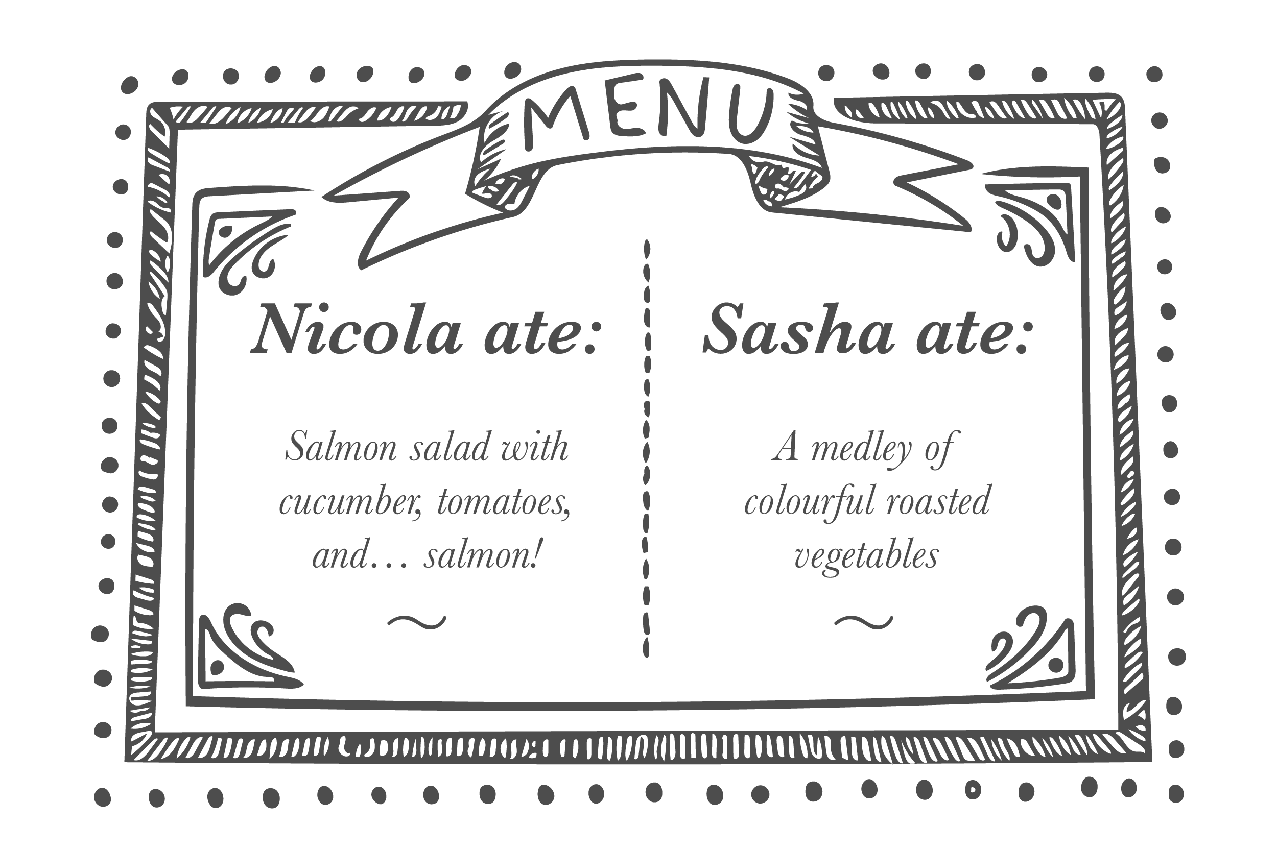 Nicola's lunch menu