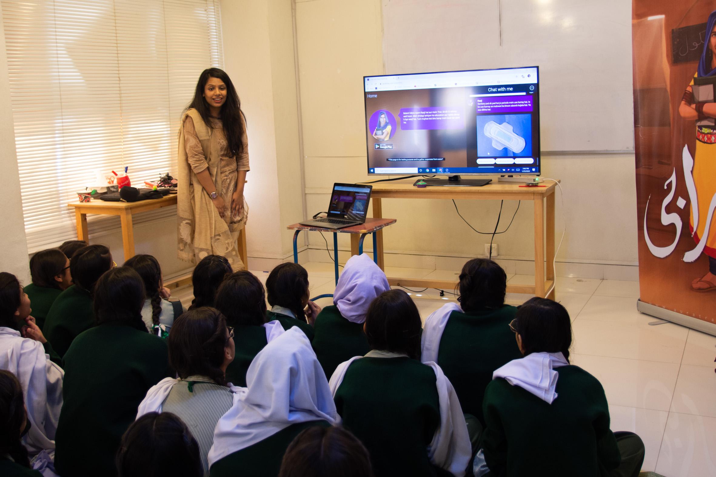 Raaji being used in a classroom in Pakistan