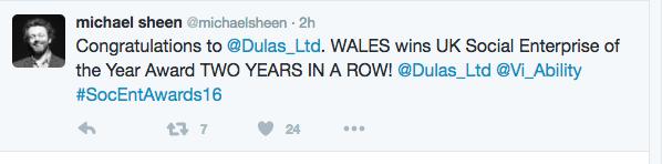 Michael Sheen tweet_SEUK Awards