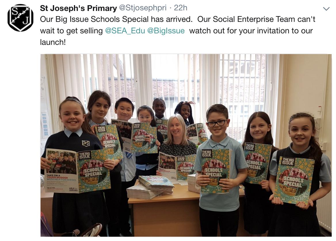St Josephs Primary Big Issue tweet