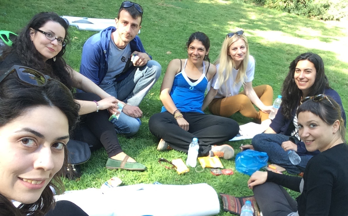 Teacher training meeting in the park