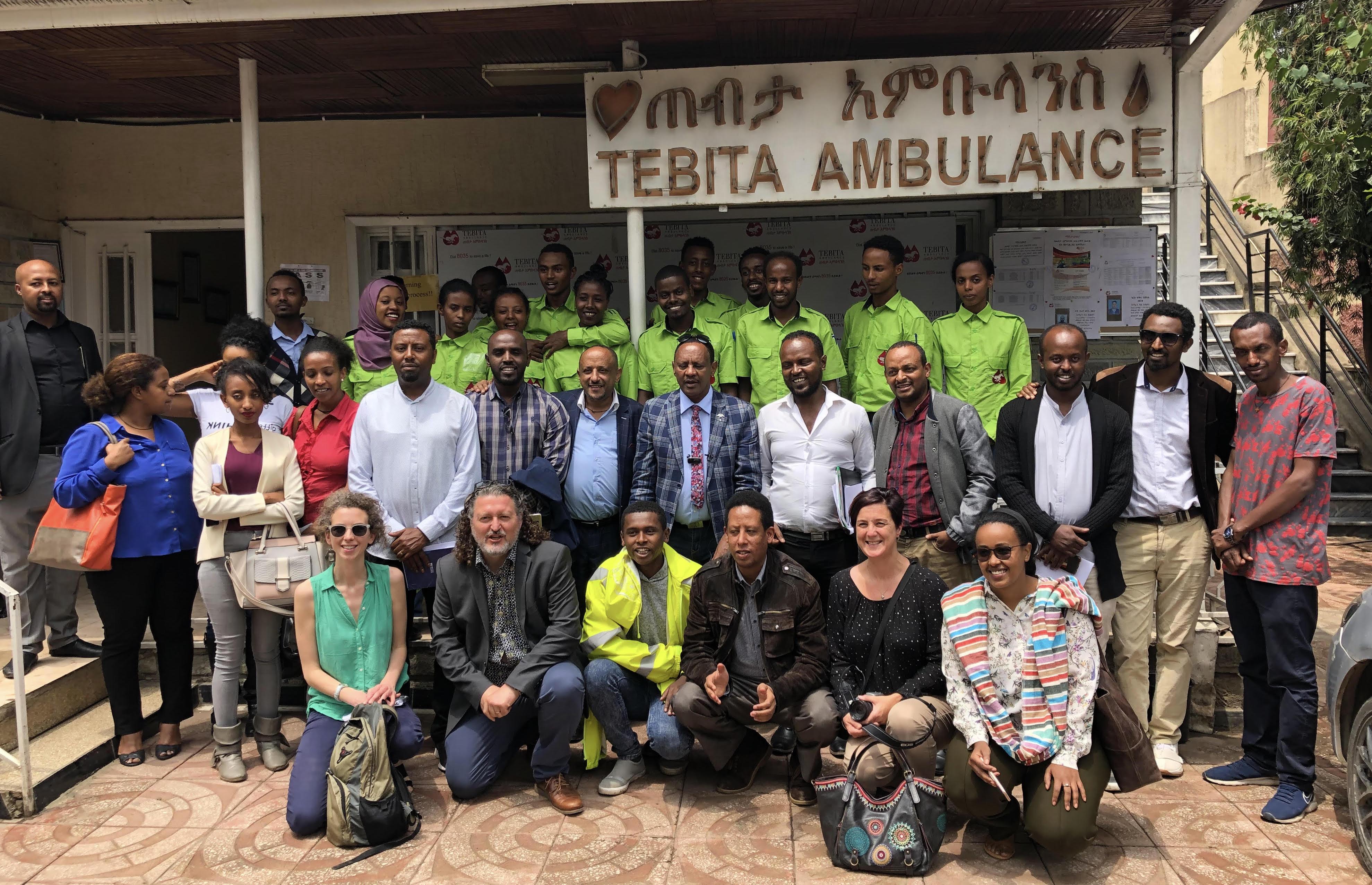 Journalists and Tebita Ambulance staff