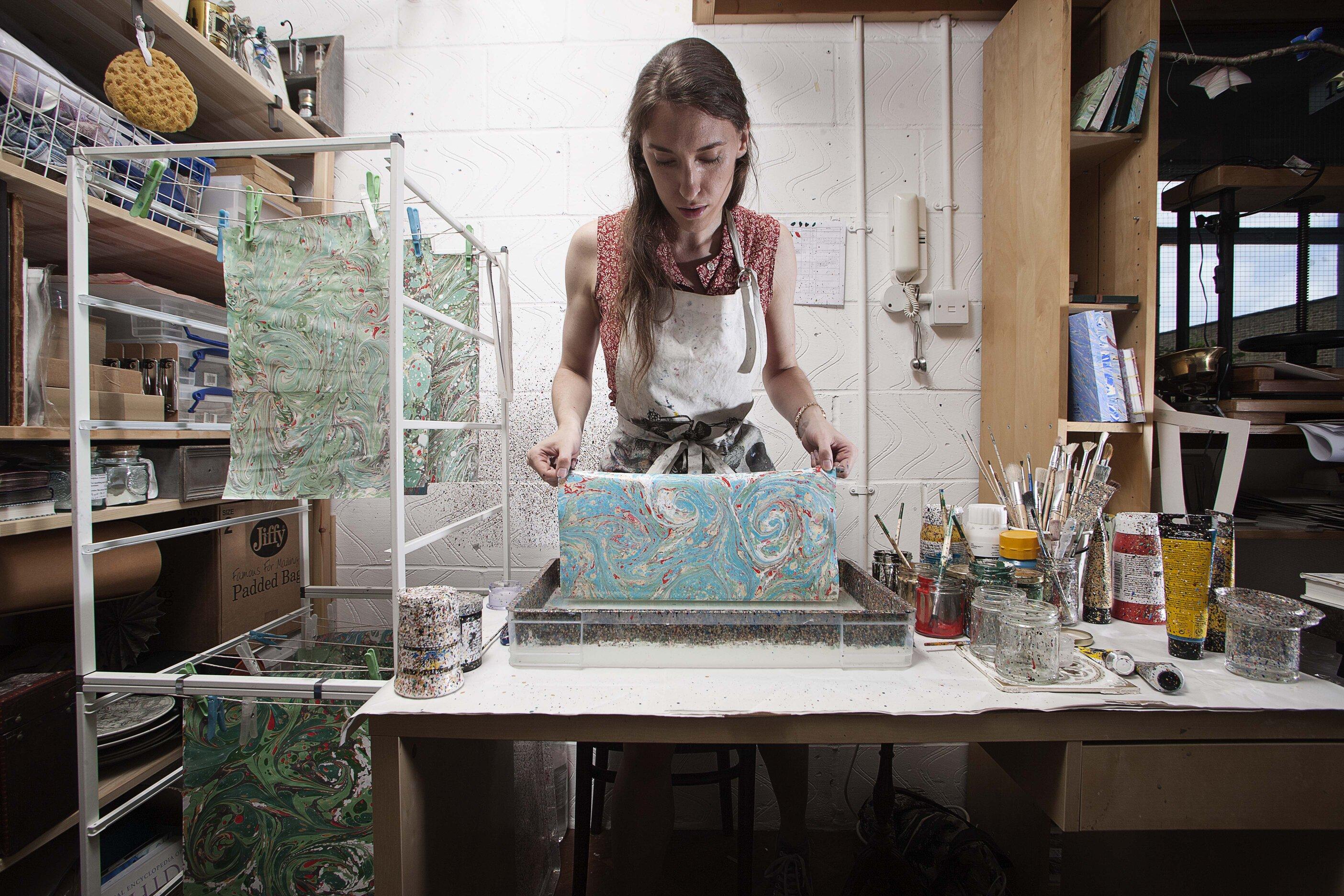 Lucy McGrath, paper marbling artist based at Cockpit Arts