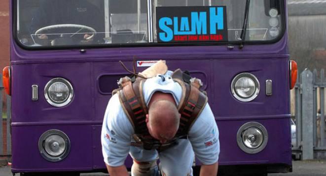 Big Dave Gauder pulls bus