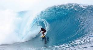 Surfing a ripcurl wave