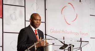 Tony Elumelu speaking at the Global Philanthropy Forum