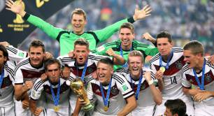 Germany's winning World Cup football team celebrate