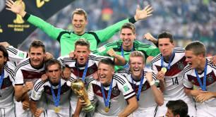 Germany's winning World Cup football team celebrate