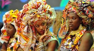 Carnival participants Ile Aiye Salvador Brazil