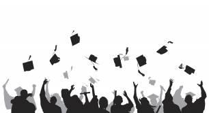 Illustration of graduating university students