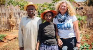 Karen Lynch Belu with beneficiaries of WaterAid