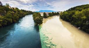 Rhone and Arve Rivers Geneva