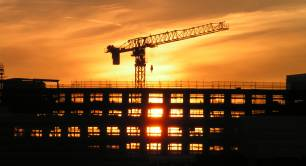 Building site at sunset