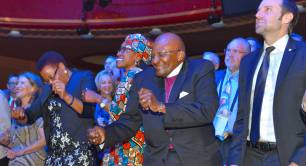 Archbishop Desmond Tutu dancing at Skoll World Forum 2015
