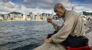 Hong Kong poverty old man fishing