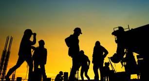 construction workers concrete construction site