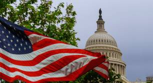 US Capitol building and flag